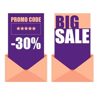 판매 크리에이 티브 배지 세트입니다. 봉투 벡터 일러스트와 함께 프로모션 코드 및 판매 카드.