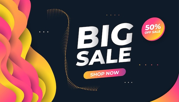 Sale discount banner design template. big sale special offer promotion banner with colorful liquid shapes