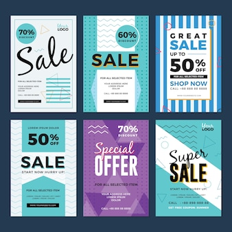 Sale and discount flyer set