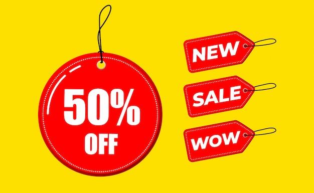 Скидка продажи этикетки 50%, новые, вау цена от шаблона значок плоский дизайн. иллюстрация