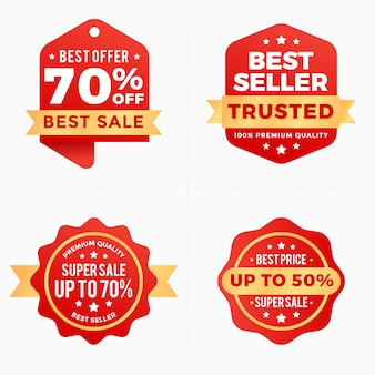 Sale discount labels red banner tag collection