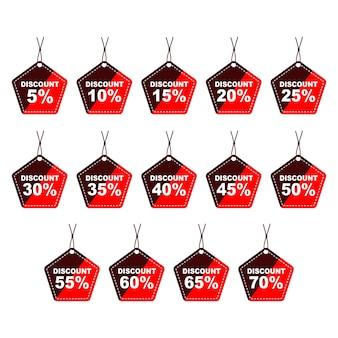 割引割引ペンタゴン価格タグアイコンセット5〜70オフ