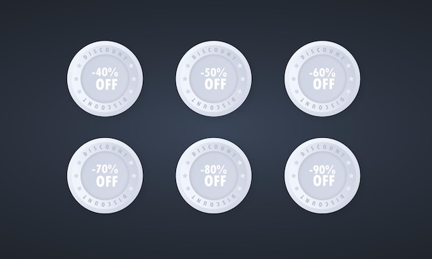 Sale discount tags badges template in 3d style