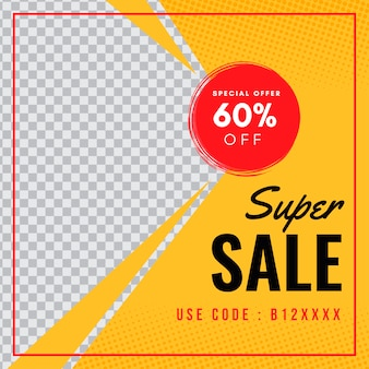 Sale discount yellow banner