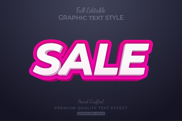 Sale editable custom text style effect premium