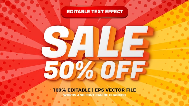 Sale editable text effect with halftone