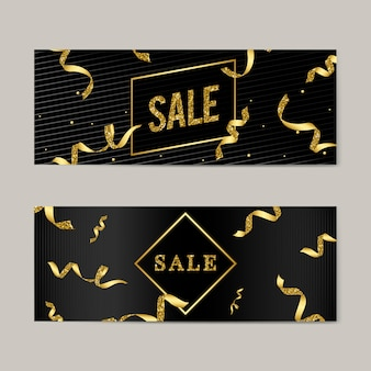 Sale emblem with ribbons vector
