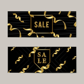 Sale emblem with ribbons