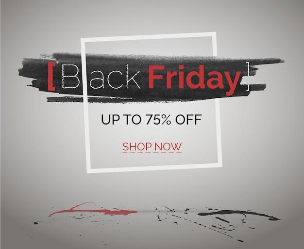 赤とグランジのスプラッシュとフレームの販売イベント水彩ヒップスターバナー。ブラックフライデー割引ベクトルウェブ広告。