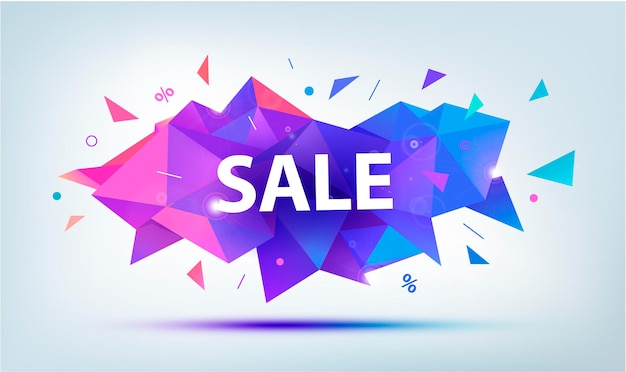 Sale faceted 3d banner. colorful igeometric shape discount