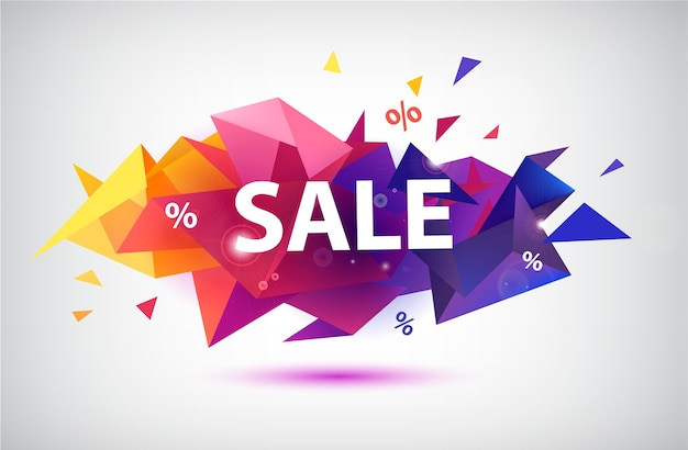 Sale faceted banner, poster. colorful illustration