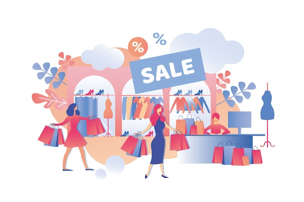 Sale fashion clothes in womens store cartoon.