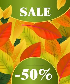 Продажа пятьдесят процентов надписей. современная надпись в круглых рамках в красочных листьев фона.
