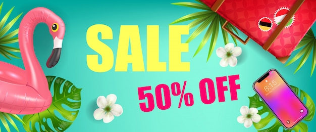 Sale, fifty percent off discount banner design with palm leaves, smartphone