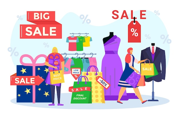 Sale, final discount for happy people, vector illustration. flat tiny man woman character buy clothes in retail store design, best price for gift shopping. customer hold package at shop, present box.