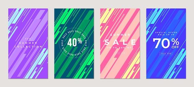 Продажа плоских рассказов шаблон, для блога и продаж, веб-концепция баннера для покупок в интернете.
