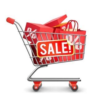 판매 전체 쇼핑 카트 빨간 그림