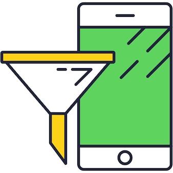 Sale funnel social media marketing vector icon
