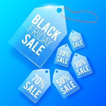 Progettazione di cartellini dei prezzi in vetro di vendita.