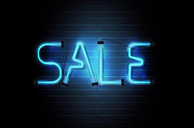 Sale glowing neon blue tubes on dark brick wall  background.