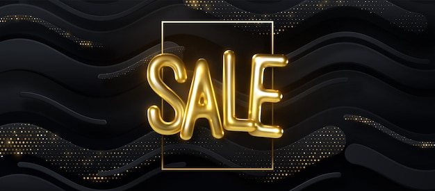 Sale golden 3d sign on abstract background with geometric zigzag shapes and golden glitters