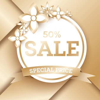 Sale golden banner template with flowers and copy space. sale tag. vector illustration.