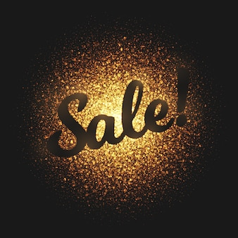 Sale golden glowing particles