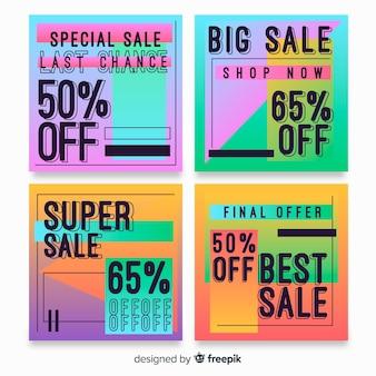 Sale gradient instagram post set