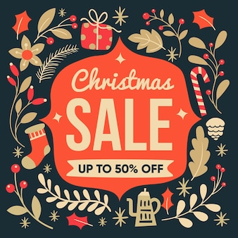Sale half off christmas in flat design