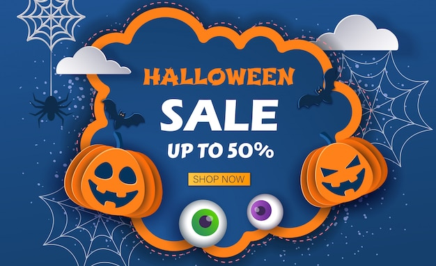 Sale halloween background with cute pumpkins
