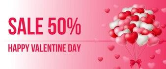 販売、風船の束との幸せなバレンタインデーのレタリング