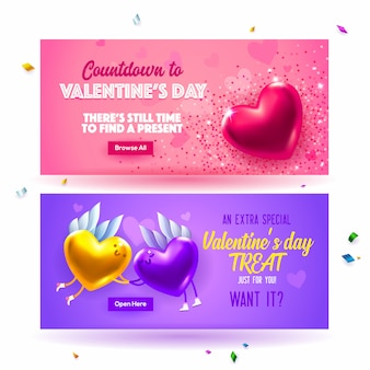 Sale header or banner discount offer for happy valentine's day.