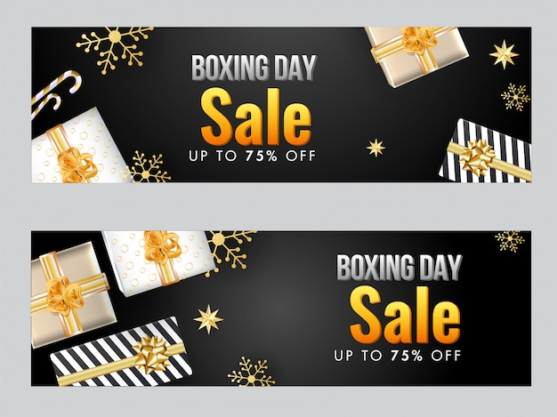 Sale header or banner with top view of gift boxes