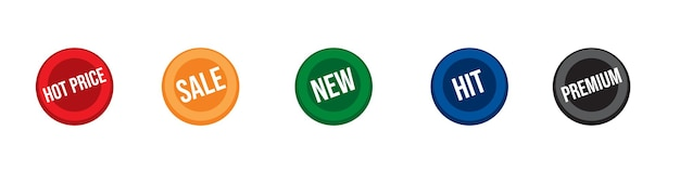Sale hit new hot price and premium colored round stickers promotion label set retail offer badges