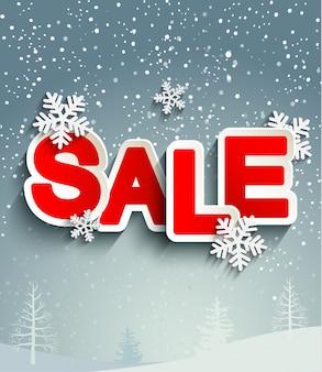 Продажа надпись со снежинками.