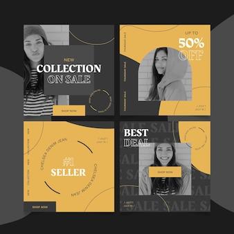 Sale instagram post collection Premium Vector