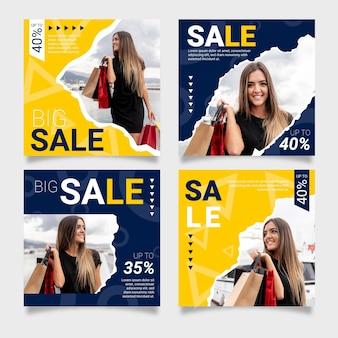 Sale instagram posts set with photo