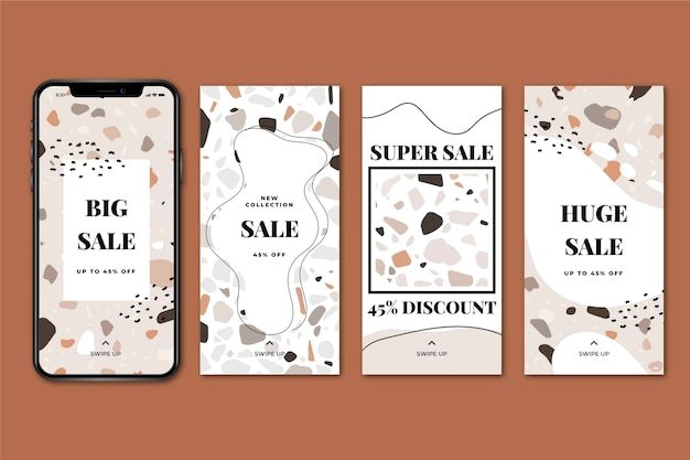 Sale instagram stories collection in hand drawn