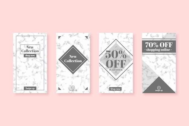 Sale instagram stories collection in marble style