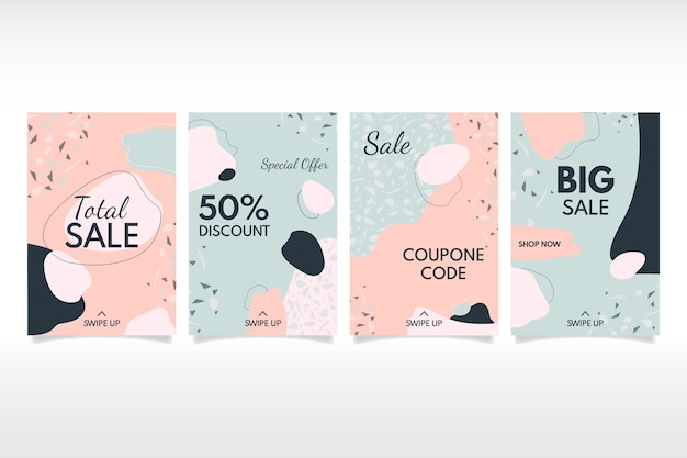 Sale instagram stories collection in terrazzo and draw style