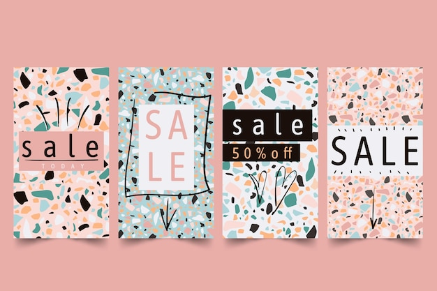 Sale instagram stories collection in terrazzo and drawing style theme
