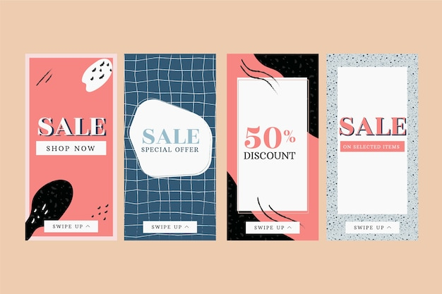Sale instagram stories collection in terrazzo and hand drawn style