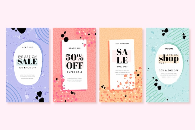Sale instagram stories collection in terrazzo