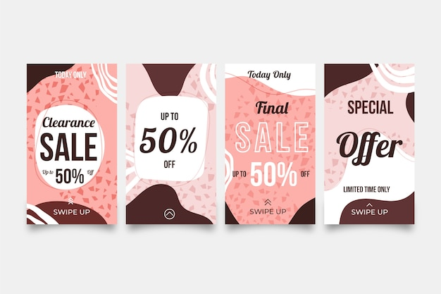 Sale instagram stories pack hand drawn