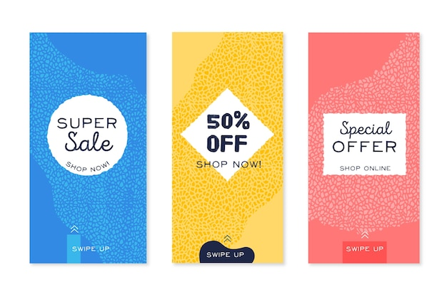 Sale instagram stories pack in terrazzo and hand drawn style