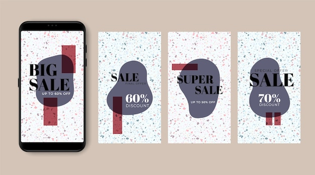 Sale instagram stories set in terrazzo and hand drawn style