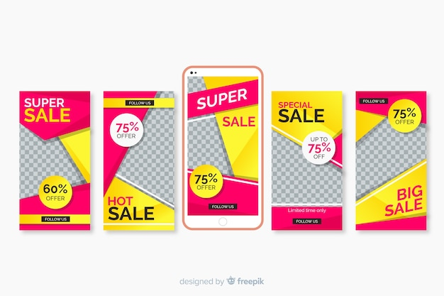 Sale instagram stories templates set