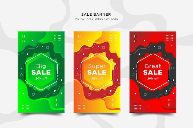 Sale instapost stories banner set