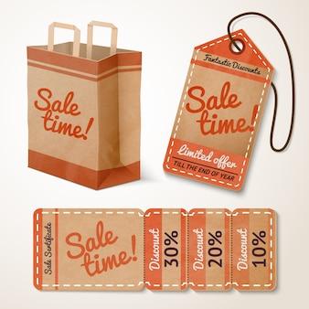 Sale items cardboard set