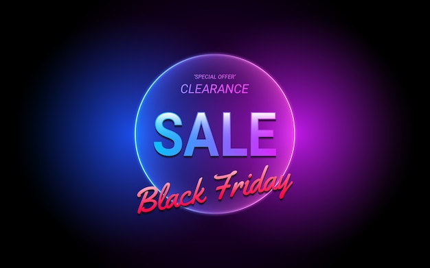 Sale label 3d text in circle neon light color effect